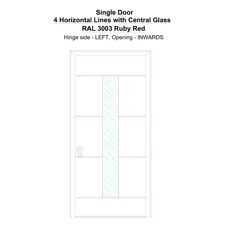 Sd 4 Horizontal Lines With Central Glass Ral 3003 Ruby Red Security Door