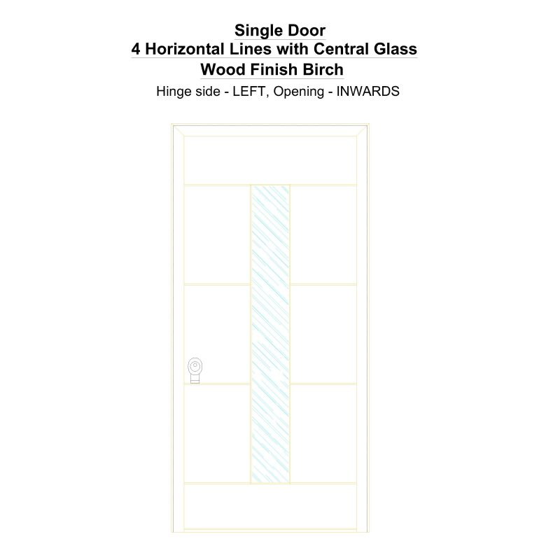 Sd 4 Horizontal Lines With Central Glass Wood Finish Birch Security Door