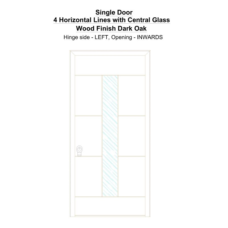 Sd 4 Horizontal Lines With Central Glass Wood Finish Dark Oak Security Door