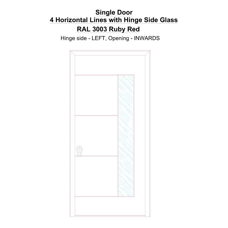 Sd 4 Horizontal Lines With Hinge Side Glass Ral 3003 Ruby Red Security Door