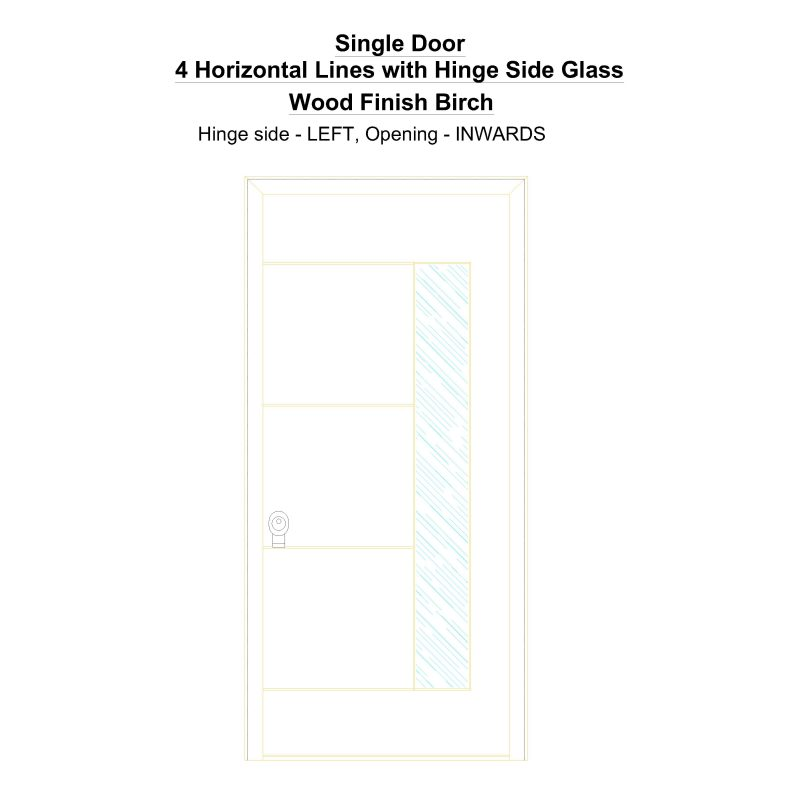 Sd 4 Horizontal Lines With Hinge Side Glass Wood Finish Birch Security Door
