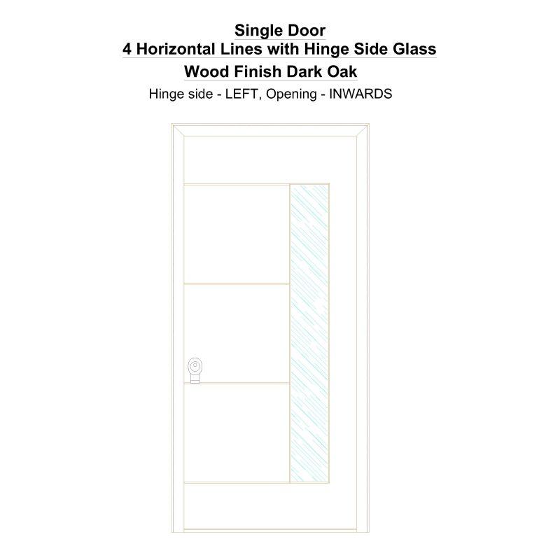 Sd 4 Horizontal Lines With Hinge Side Glass Wood Finish Dark Oak Security Door