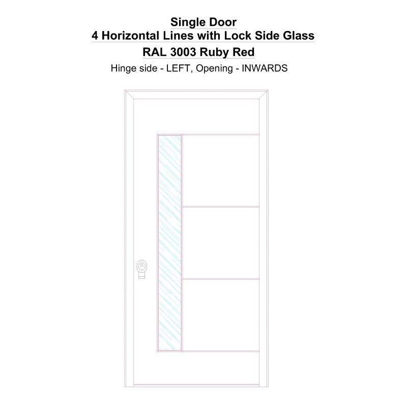Sd 4 Horizontal Lines With Lock Side Glass Ral 3003 Ruby Red Security Door