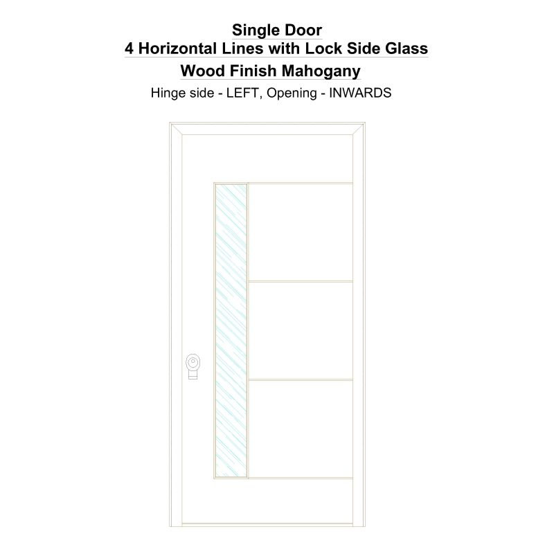 Sd 4 Horizontal Lines With Lock Side Glass Wood Finish Mahogany Security Door