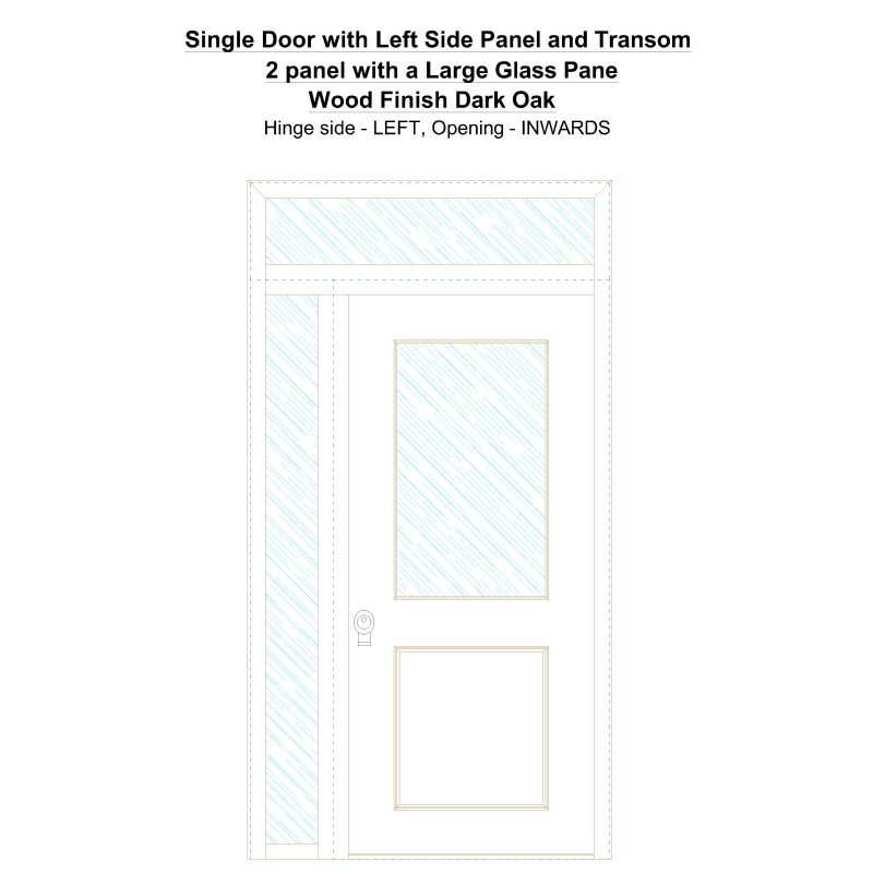 Sd1spt(left) 2 Panel With A Large Glass Pane Wood Finish Dark Oak Security Door