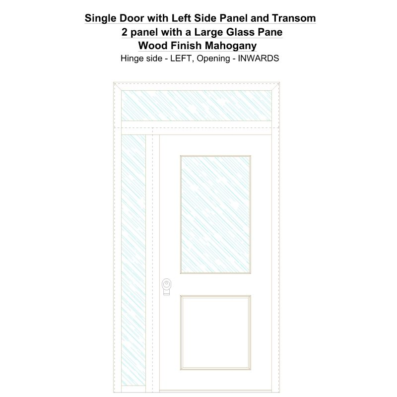 Sd1spt(left) 2 Panel With A Large Glass Pane Wood Finish Mahogany Security Door