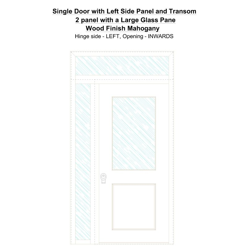 Sd1spt(left) 2 Panel With A Large Glass Pane Wood Finish Oak Security Door