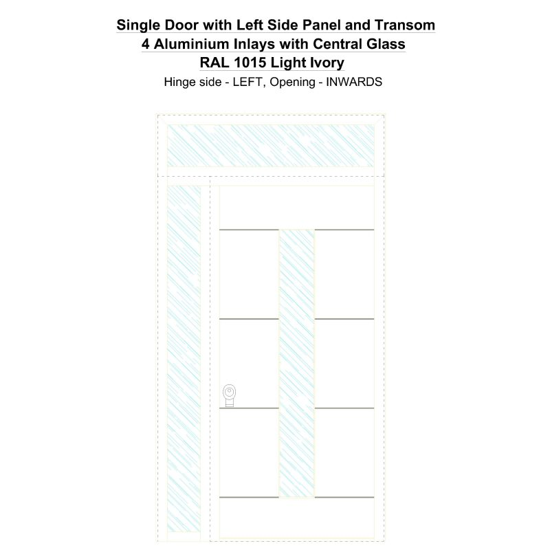 Sd1spt(left) 4 Aluminium Inlays With Central Glass Ral 1015 Light Ivory Security Door