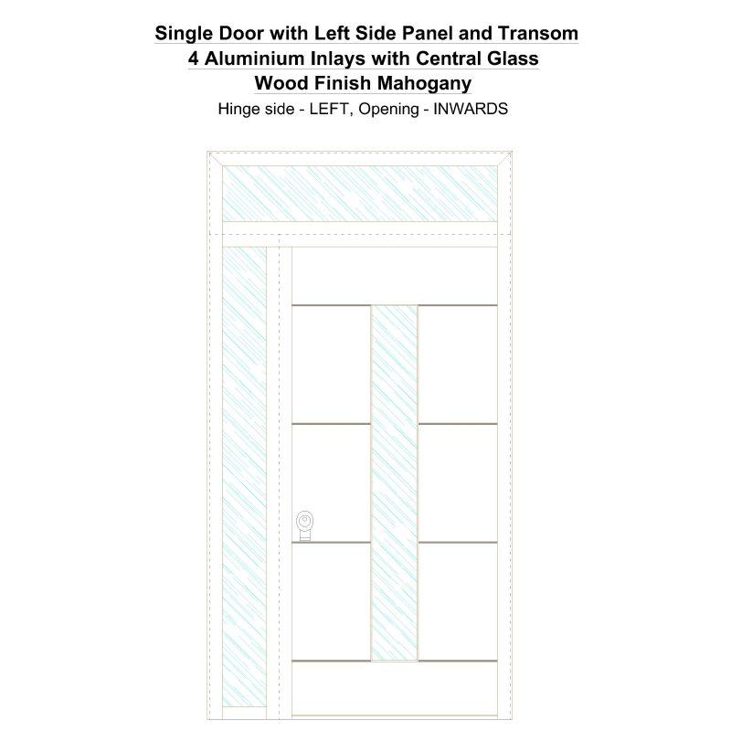 Sd1spt(left) 4 Aluminium Inlays With Central Glass Wood Finish Mahogany Security Door