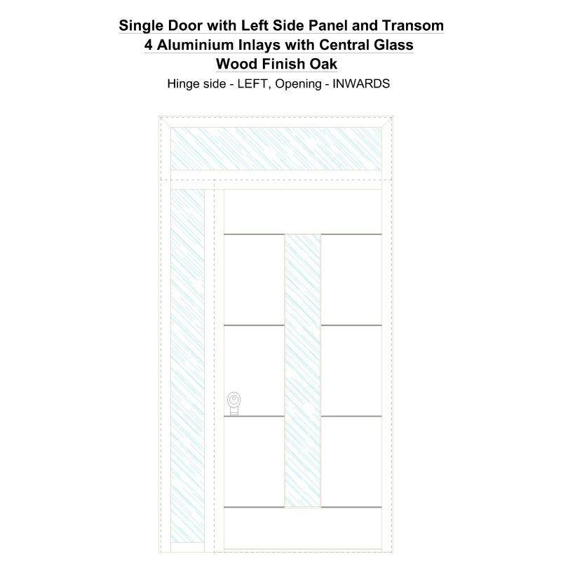 Sd1spt(left) 4 Aluminium Inlays With Central Glass Wood Finish Oak Security Door