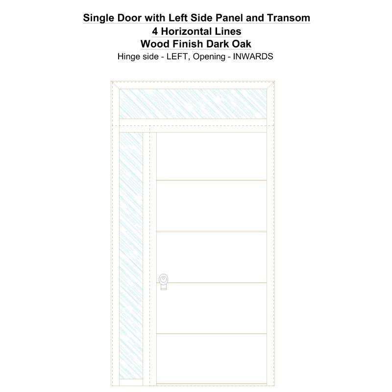 Sd1spt(left) 4 Horizontal Lines Wood Finish Dark Oak Security Door