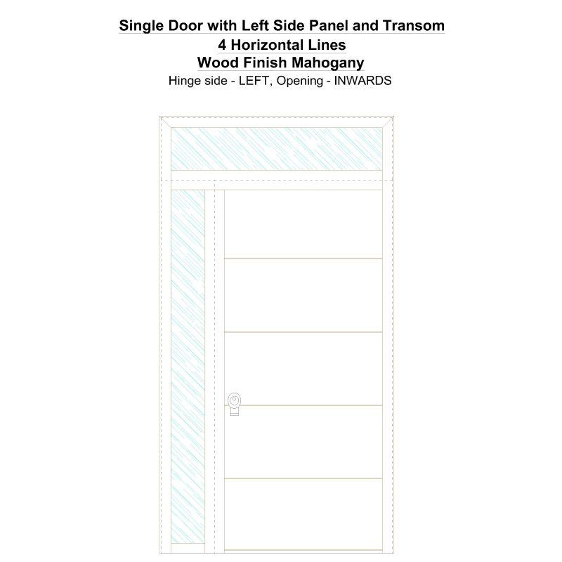 Sd1spt(left) 4 Horizontal Lines Wood Finish Mahogany Security Door