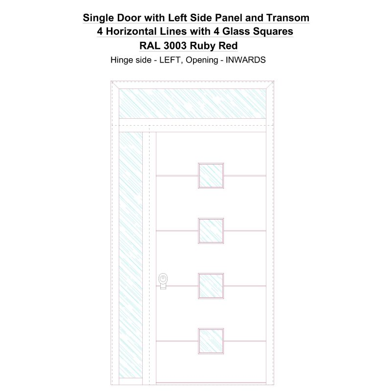 Sd1spt(left) 4 Horizontal Lines With 4 Glass Squares Ral 3003 Ruby Red Security Door
