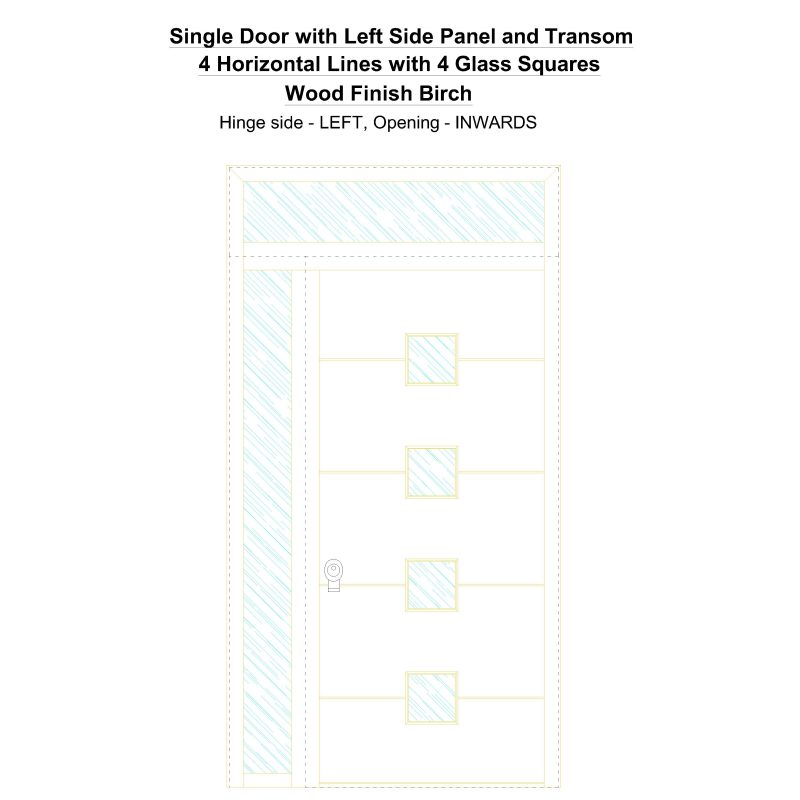 Sd1spt(left) 4 Horizontal Lines With 4 Glass Squares Wood Finish Birch Security Door