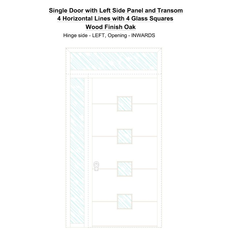 Sd1spt(left) 4 Horizontal Lines With 4 Glass Squares Wood Finish Oak Security Door