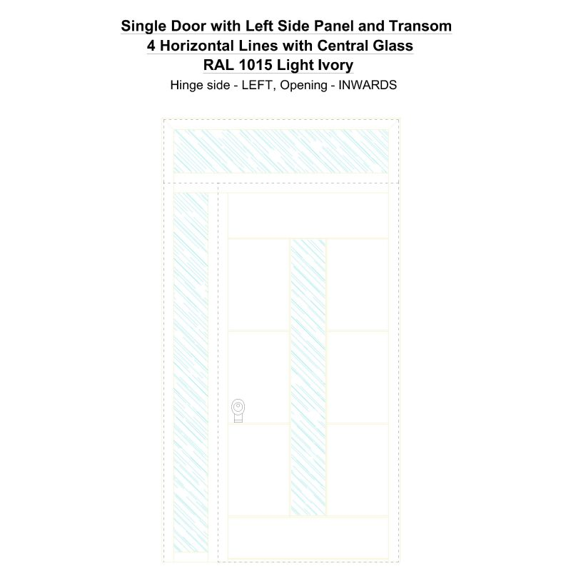 Sd1spt(left) 4 Horizontal Lines With Central Glass Ral 1015 Light Ivory Security Door
