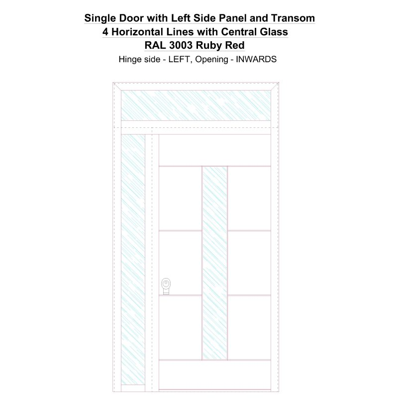 Sd1spt(left) 4 Horizontal Lines With Central Glass Ral 3003 Ruby Red Security Door
