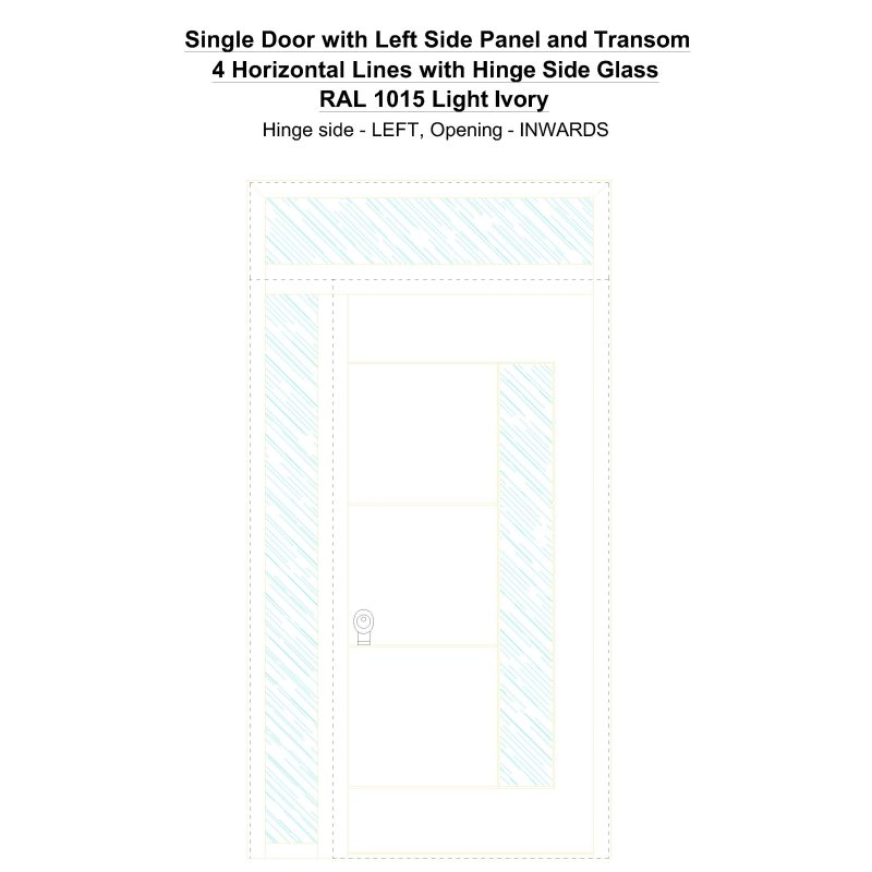 Sd1spt(left) 4 Horizontal Lines With Hinge Side Glass Ral 1015 Light Ivory Security Door