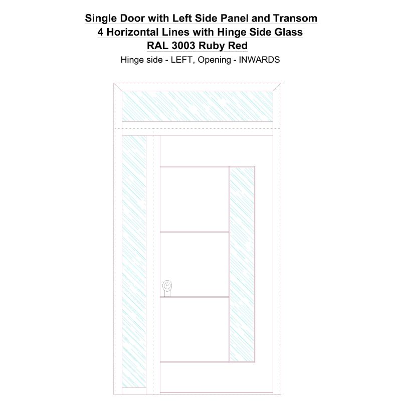 Sd1spt(left) 4 Horizontal Lines With Hinge Side Glass Ral 3003 Ruby Red Security Door
