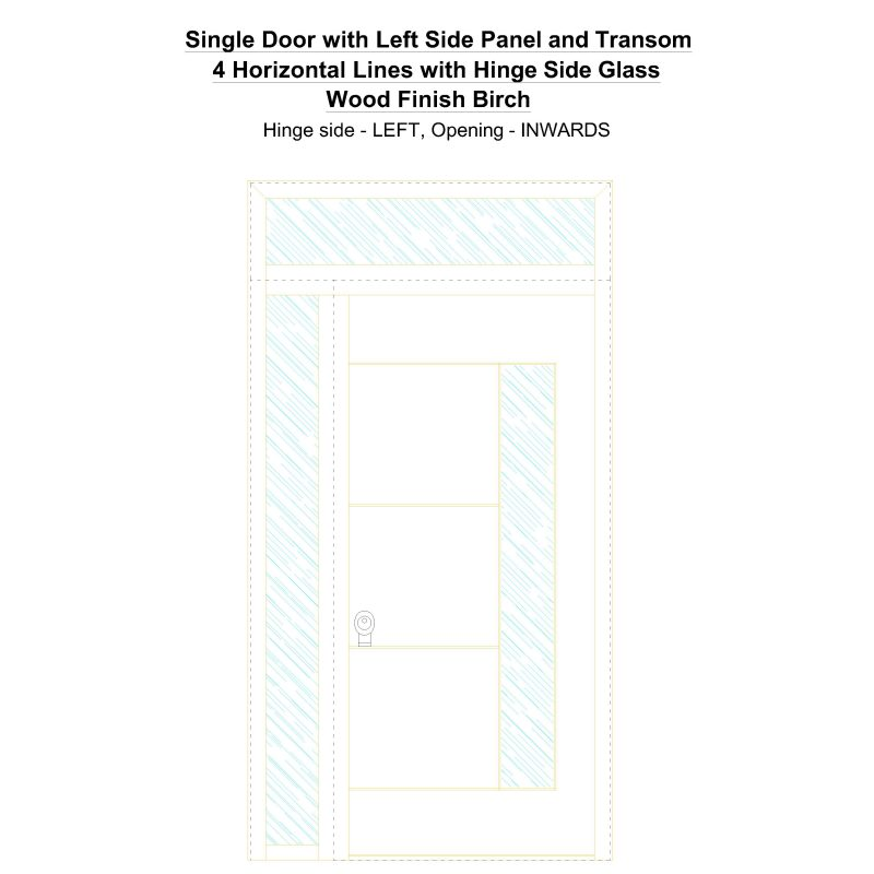 Sd1spt(left) 4 Horizontal Lines With Hinge Side Glass Wood Finish Birch Security Door