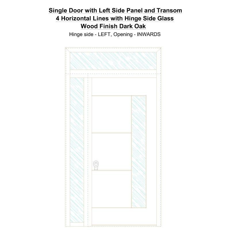 Sd1spt(left) 4 Horizontal Lines With Hinge Side Glass Wood Finish Dark Oak Security Door