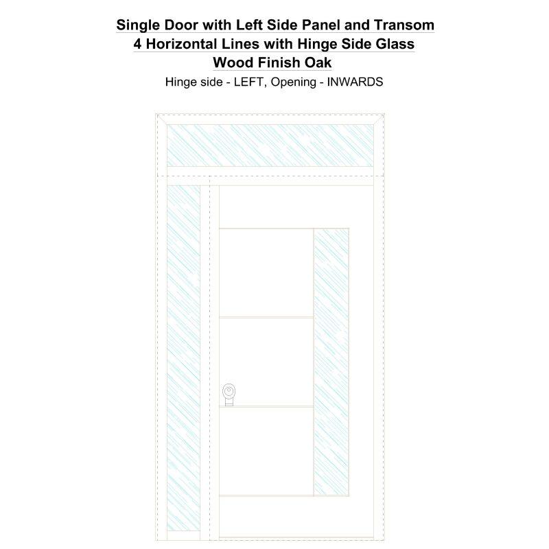 Sd1spt(left) 4 Horizontal Lines With Hinge Side Glass Wood Finish Oak Security Door