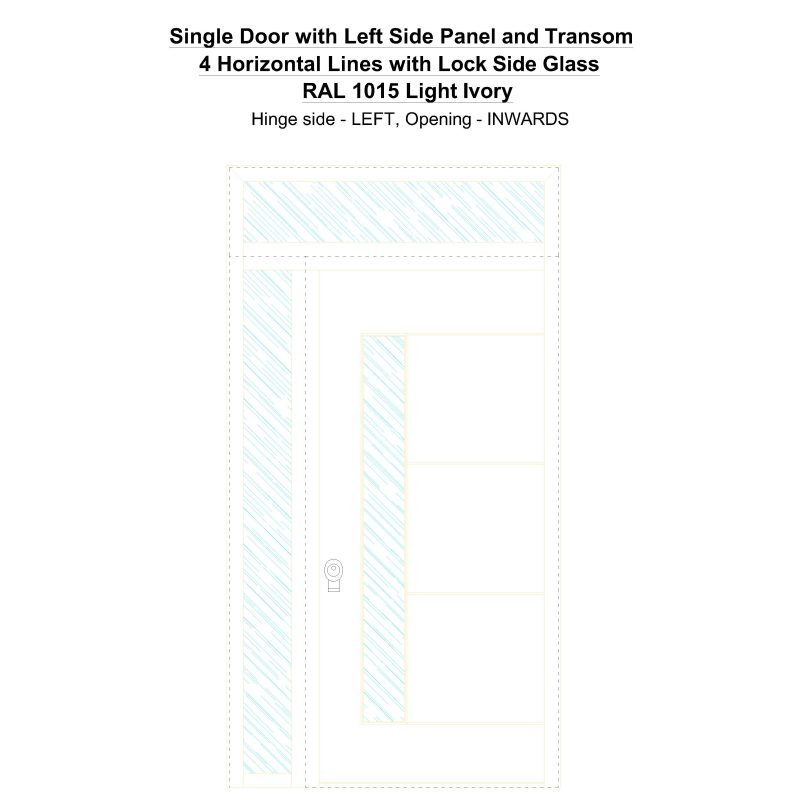 Sd1spt(left) 4 Horizontal Lines With Lock Side Glass Ral 1015 Light Ivory Security Door