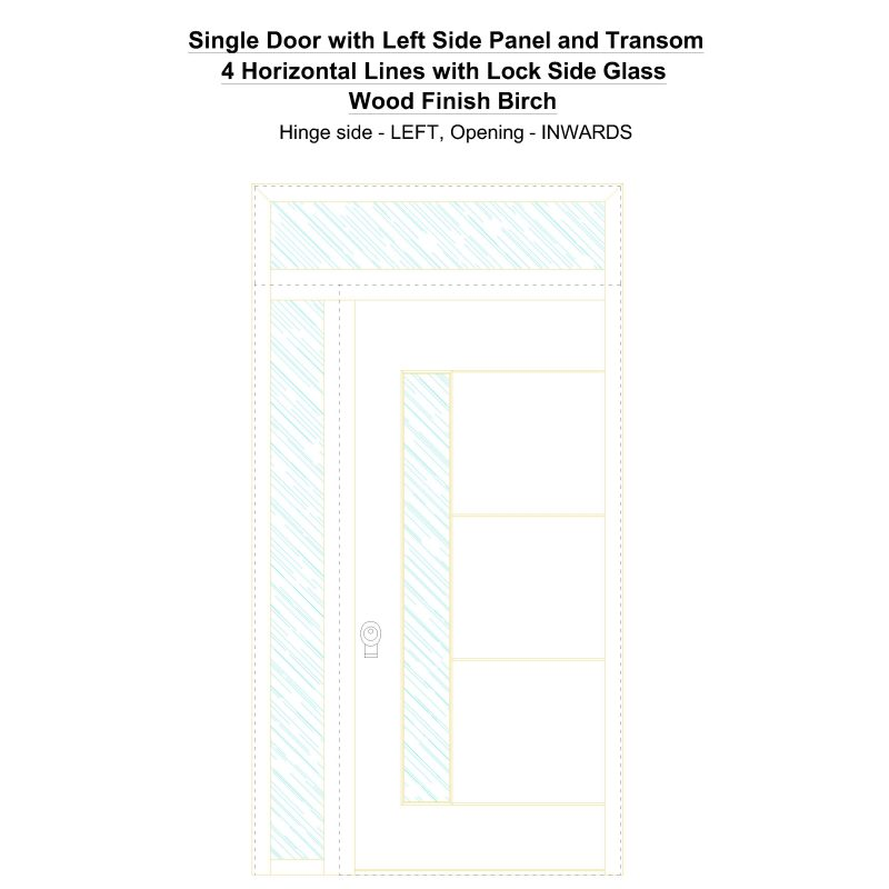 Sd1spt(left) 4 Horizontal Lines With Lock Side Glass Wood Finish Birch Security Door