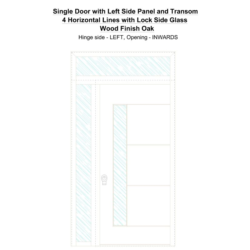 Sd1spt(left) 4 Horizontal Lines With Lock Side Glass Wood Finish Oak Security Door