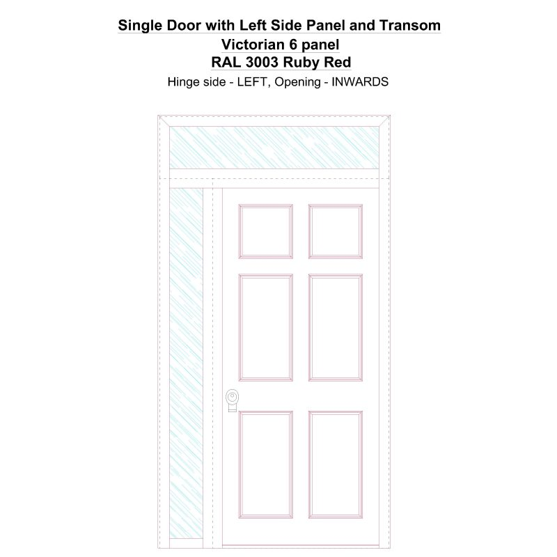 Sd1spt(left) Victorian 6 Panel Ral 3003 Ruby Red Security Door
