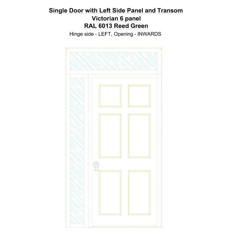 Sd1spt(left) Victorian 6 Panel Ral 6013 Reed Green Security Door