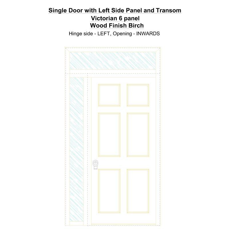 Sd1spt(left) Victorian 6 Panel Wood Finish Birch Security Door