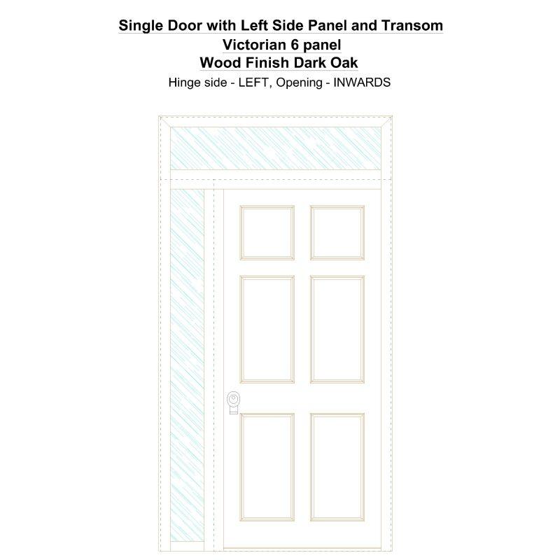 Sd1spt(left) Victorian 6 Panel Wood Finish Dark Oak Security Door