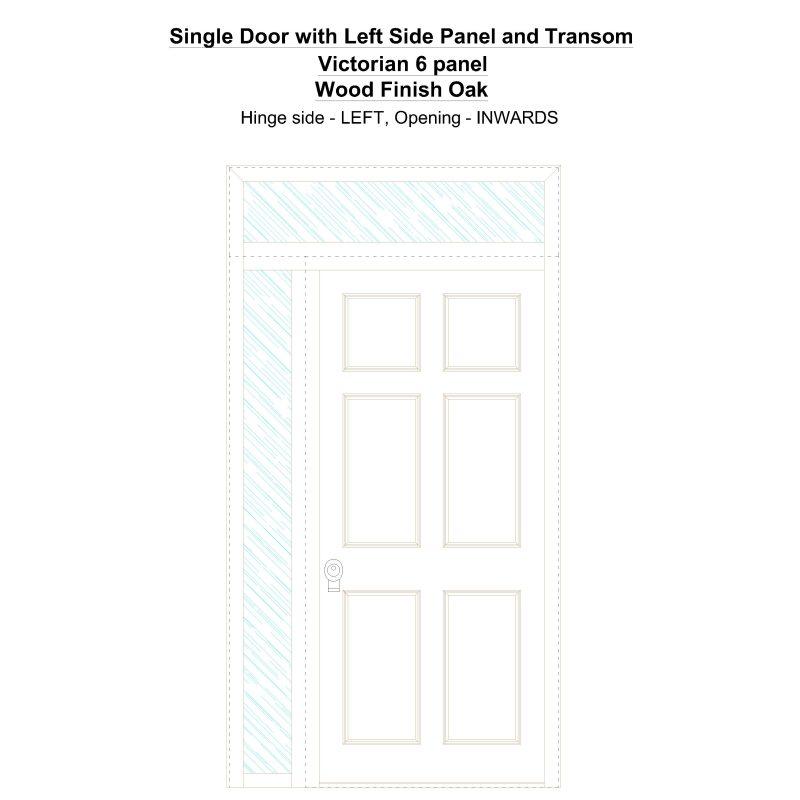 Sd1spt(left) Victorian 6 Panel Wood Finish Oak Security Door