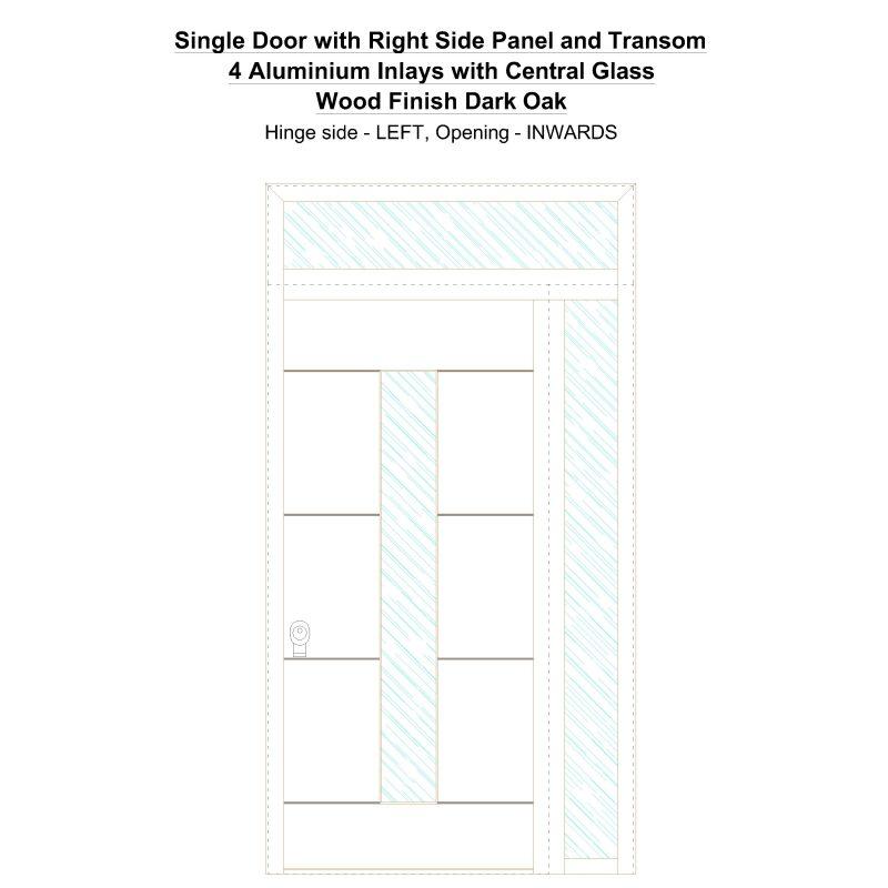 Sd1spt(right) 4 Aluminium Inlays With Central Glass Wood Finish Dark Oak Security Door