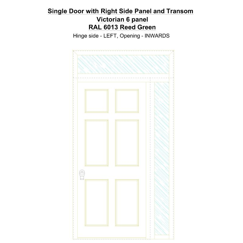 Sd1spt(right) Victorian 6 Panel Ral 6013 Reed Green Security Door