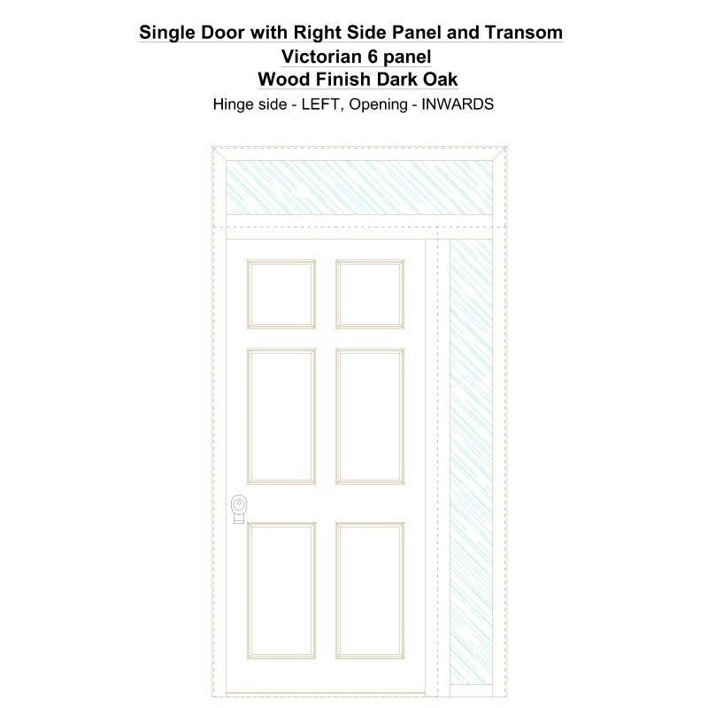 Sd1spt(right) Victorian 6 Panel Wood Finish Dark Oak Security Door