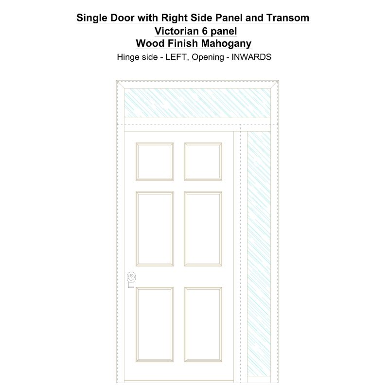 Sd1spt(right) Victorian 6 Panel Wood Finish Mahogany Security Door
