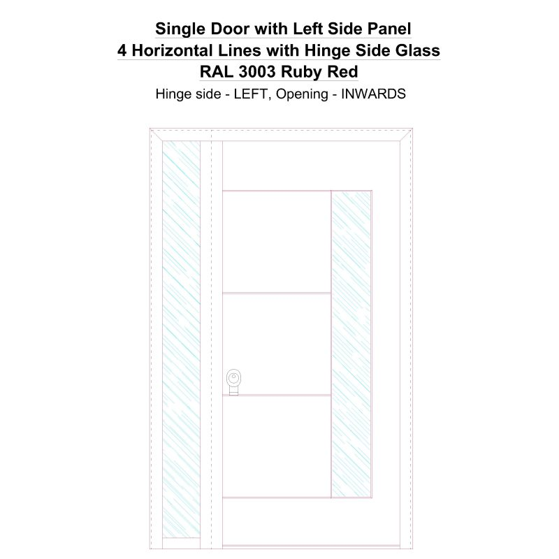 Sd1sp(left) 4 Horizontal Lines With Hinge Side Glass Ral 3003 Ruby Red Security Door