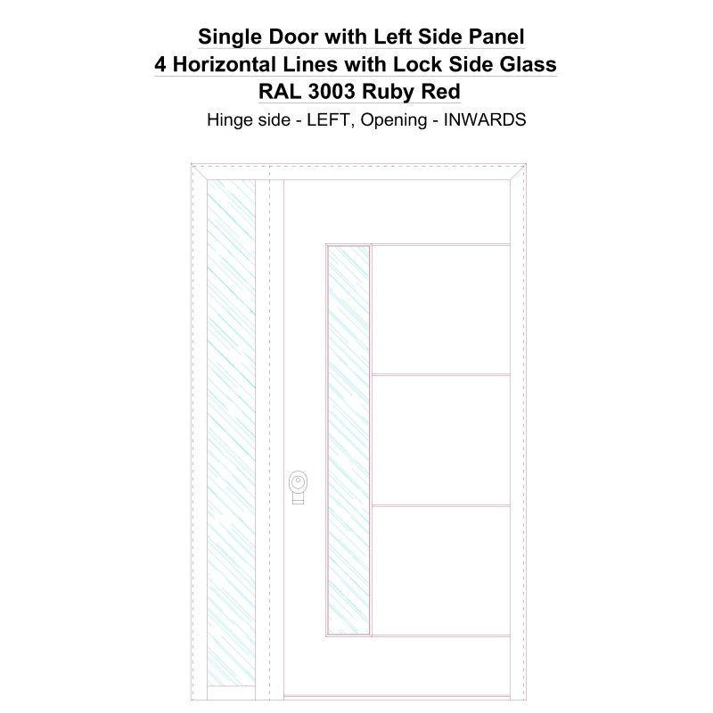 Sd1sp(left) 4 Horizontal Lines With Lock Side Glass Ral 3003 Ruby Red Security Door