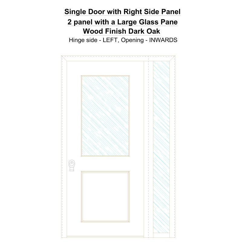 Sd1sp(right) 2 Panel With A Large Glass Pane Wood Finish Dark Oak Security Door