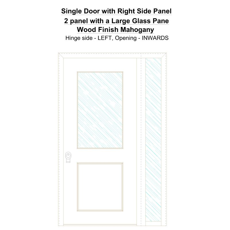 Sd1sp(right) 2 Panel With A Large Glass Pane Wood Finish Mahogany Security Door