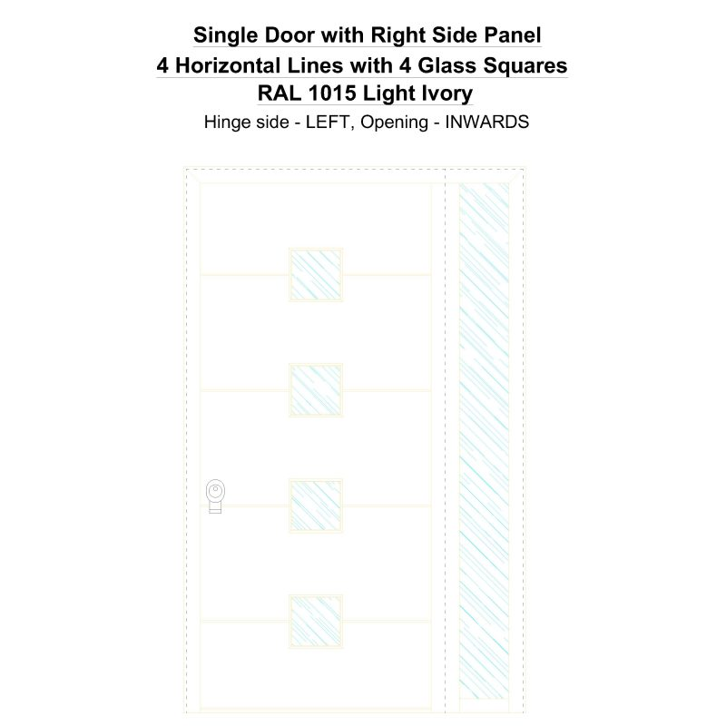 Sd1sp(right) 4 Horizontal Lines With 4 Glass Squares Ral 1015 Light Ivory Security Door