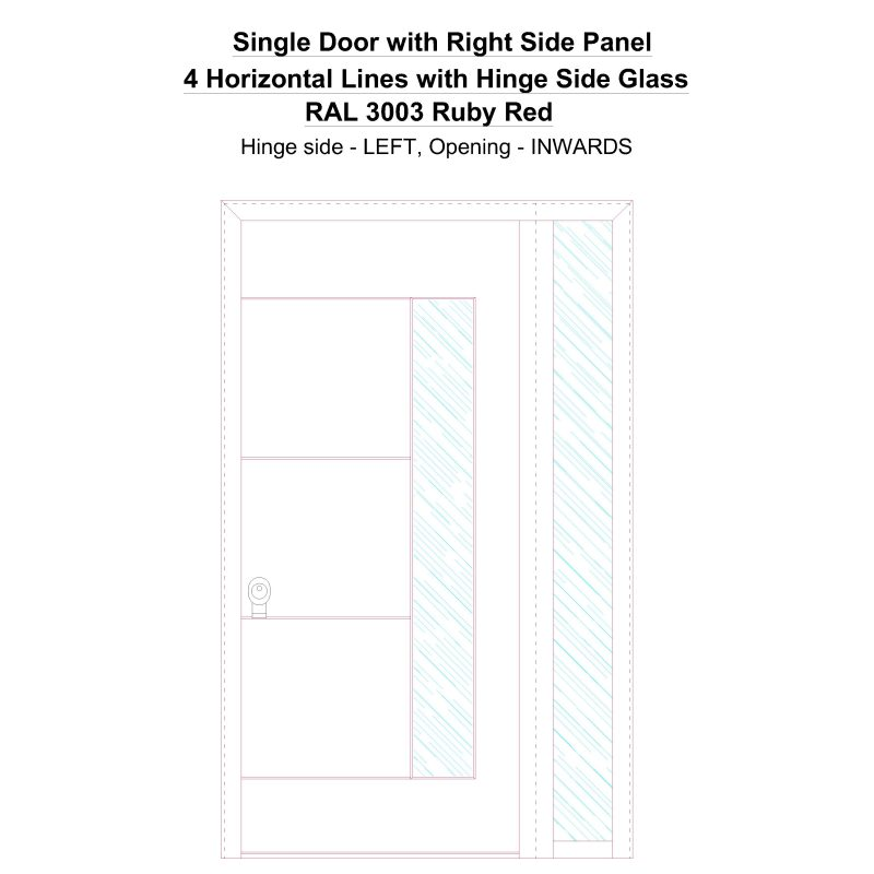 Sd1sp(right) 4 Horizontal Lines With Hinge Side Glass Ral 3003 Ruby Red Security Door