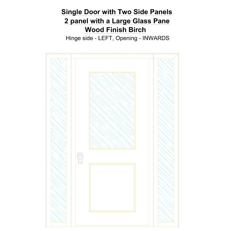 Sd2sp 2 Panel With A Large Glass Pane Wood Finish Birch Security Door