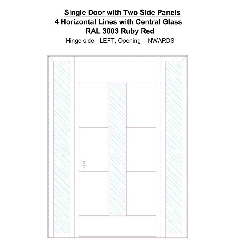 Sd2sp 4 Horizontal Lines With Central Glass Ral 3003 Ruby Red Security Door