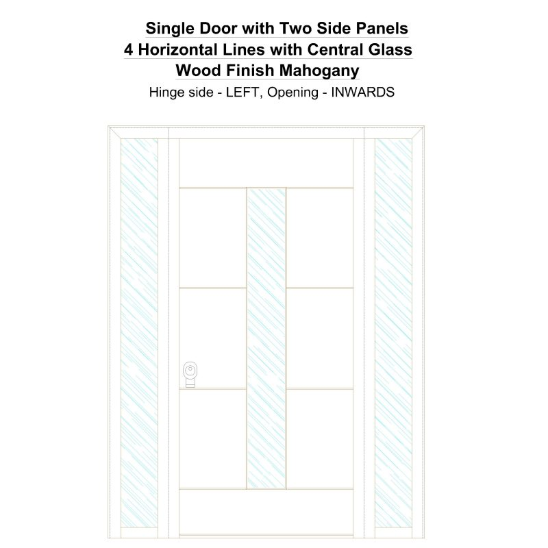 Sd2sp 4 Horizontal Lines With Central Glass Wood Finish Mahogany Security Door