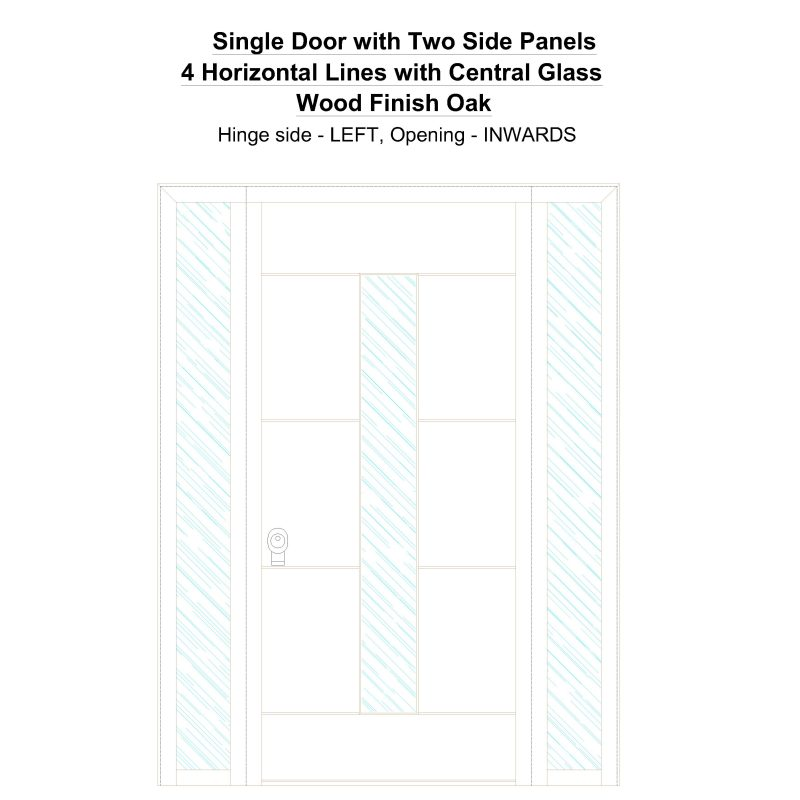 Sd2sp 4 Horizontal Lines With Central Glass Wood Finish Oak Security Door