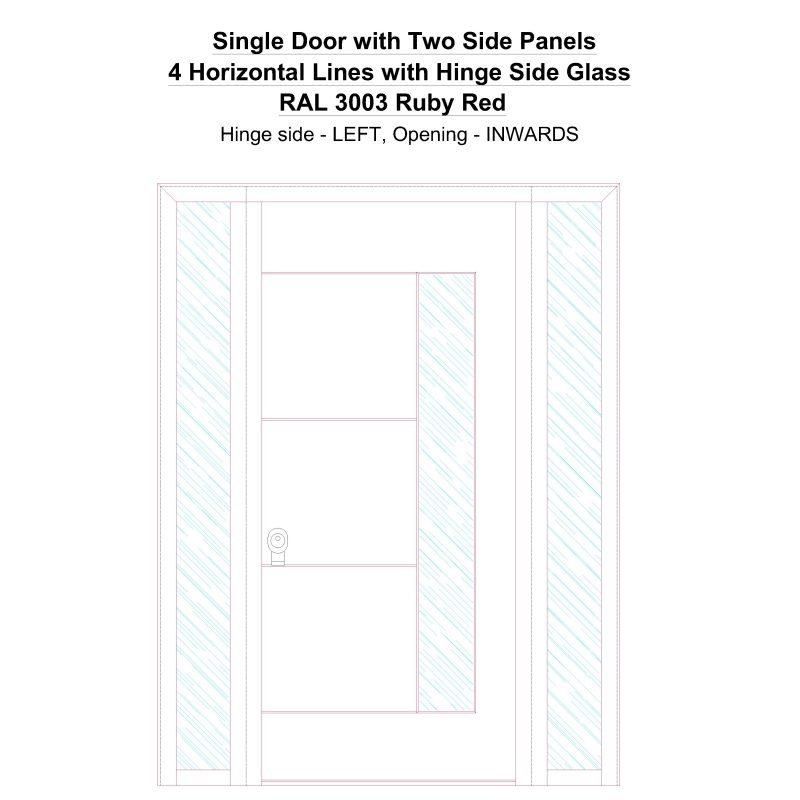 Sd2sp 4 Horizontal Lines With Hinge Side Glass Ral 3003 Ruby Red Security Door