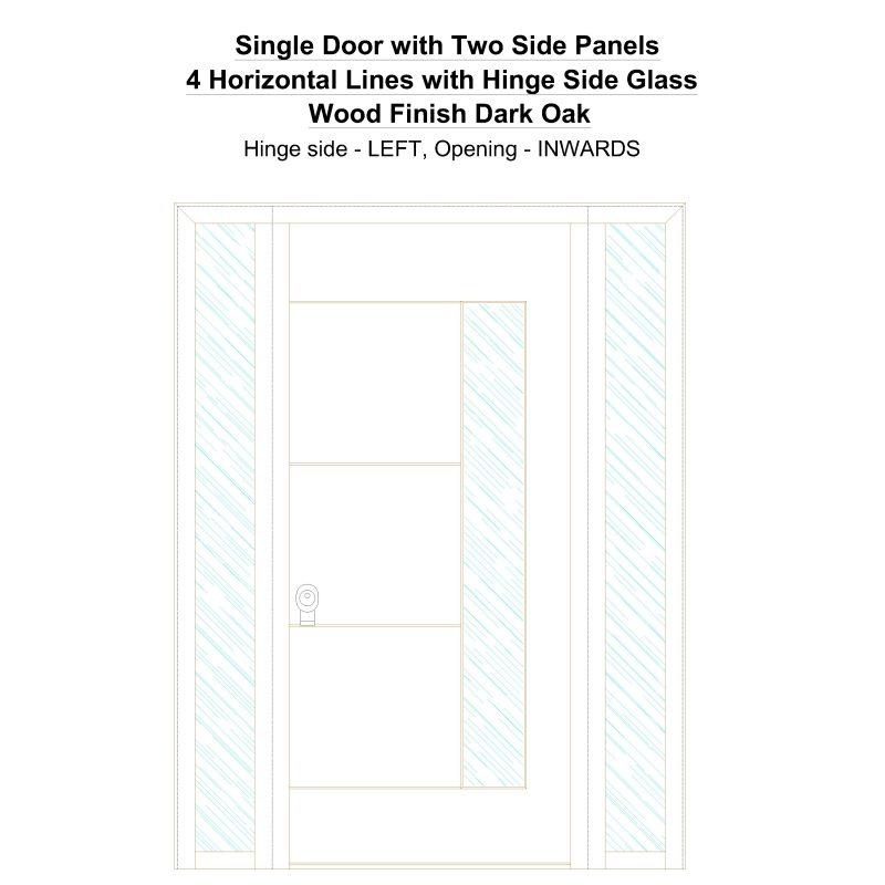 Sd2sp 4 Horizontal Lines With Hinge Side Glass Wood Finish Dark Oak Security Door
